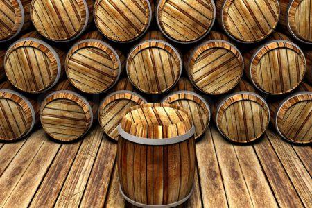 wall-of-wooden-barrels
