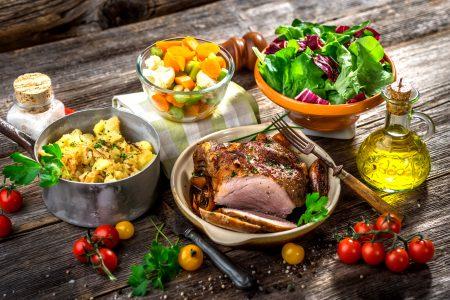 Meat, pork, potatoes and vegetable_Slovenia